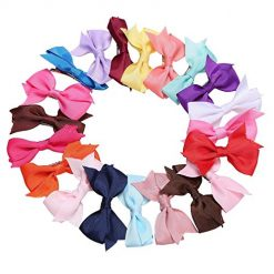 Queind 20Pcs Ribbon Hair Bow Clips Hair Accessories for Girls Toddlers Kids Clips