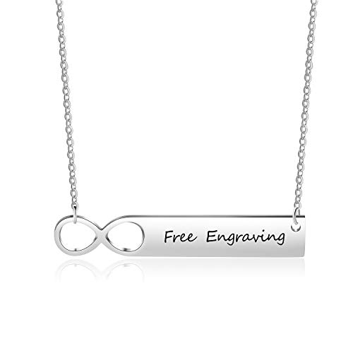 Luolajewelry Personalized Mother Bar Infinity Necklace Engraved Name Stainless Steel Pendant Necklace for Women Gifts At Discount Price With Coupon Deals on Amazon