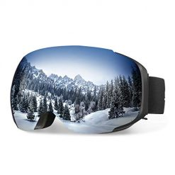 LENSE REPLACEMENT SYSTEM: with the high-performance magnetic design, it's simple and fast to change the lenses in a convenient way; you can remove the lenses to clean with ease DUAL SPHERICAL LENSE: this snow goggle offers a large and great visibility and limits the amount of light entering your eyes, which is more comfortable and beneficial to your eyes FULL REVO COATING: the full REVO coating on the lenses provides the optical clarity without any reflections and blocks the harmful UV sunlight within UV 400 verified; they are also scratch resistant for durability ADJUSTABLE STRAP & UNBROKEN TPU FRAME: adjustable strap and bendable TPU frame for better helmet comparability, suitable for men and women, ensure a long-term use OTG (OVER-THE-GLASSES) DESIGN: features an OTG design that allows you wear your glasses under the goggles; adequate ventilation for reducing eye fatigue and keeping the lenses unfogged.