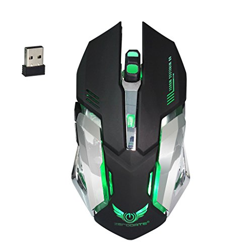 SCASTOE Wireless 2400DPI 6 Buttons Mice Gaming Mouse with 2.4G Rechargeable Battery for Pro Gamer -Black
