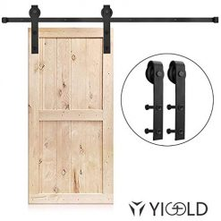 YIGOLD 6.6ft Heavy Duty Sturdy Sliding Barn Door Hardware Kit Factory Outlet Carbon Steel- Ultra Smoothly and Quietly Design-Easy Installation-Fit 35