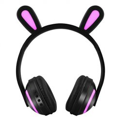 MeterMall Wireless Bluetooth Stereo Cute Animal Ear Design Headphones Flashing Glowing Gaming Headset RABIT Ear