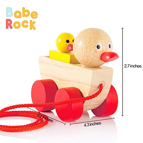 Babe Rock Baby Toys for 1 2 3 Year Old Gifts Wooden Ducks Pull Toy Set 2 Gift for Girls Boys Toddlers Kids