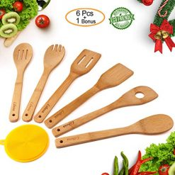 Wooden Spatula Organic Bamboo Utensil Set -Wooden Spoons Bamboo Flatware Serving Sets Premium Kitchen Antimicrobial Cooking Tools Perfect for Nonstick Pots Pans Cookware Natural Turner Spatula Forked