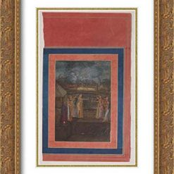 Islamic Art - 18x24 Gold Ornate Frame and Double Matted Museum Art Print - Fireworks on The Night of Shab-i Barat Feast, Folio from The Davis Album