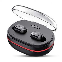 Bluetooth Headphones DACOM True Wireless Earbuds with mic Balanced Bass Stereo Mini Earphone Extra Lightweight Cordless Headset with 1100 mAH Portable Charger Case