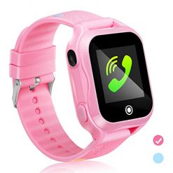 Kids Smart Watch Phone with GPS Waterproof and App Remote Control,Unlocked Kids SmartWatch Phone with Voice Chat Touch Screen Camera,Compatible with Android and iOS (Pink)