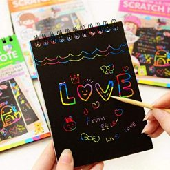 Baorin 1 Pcs Children Multicolor Drawing Writing Scratch Paper Notebook with Wooden Stylus Kids Education Toy Special Education Supplies