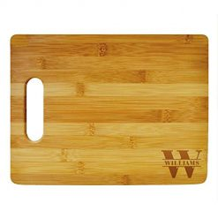 Custom Cutting Board Last Name Monogram Design - Wood Engraved Cutting Board - Personalized Bamboo Cutting Board - Custom Gifts - Anniversary Gift- Personalized Kitchen Supplies (Bamboo Handle)
