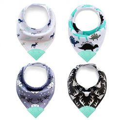Baby Bandana Bibs, Teething Bibs with Attached BPA-Free Silicone Teether - 100% Organic Cotton (B#)