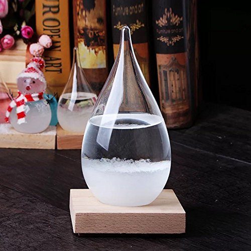 Storm Glass (Large) | Decoration Gift | Weather Predicting Barometer | Perfect for Birthday and Valentine's Day Gift | Hand-made & Creative | Natural Wooden Base | Three Sizes