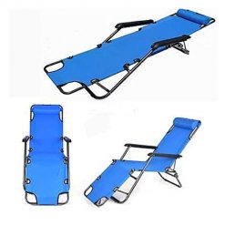 OYTRO Portable Reclining Patio Chairs Lounge Chair Dual Purposes Extendable Folding Blue