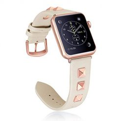 WHLIHUSU Watch Band Leather, Compatible with Apple Watch Band 38mm 40mm, Genuine Leather Bling Dressy Designer Replacement Bands Compatible with iWatch Apple Watch Series 4 3 2 1, Beige