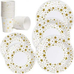"""Luckypack disposable paper plates and cups dinner service set for 50;7""""dessert plates+9""""dinner plates+9oz paper cups with gold metallic foil for Thaksgiving Christmas Birthday (White-1)"""