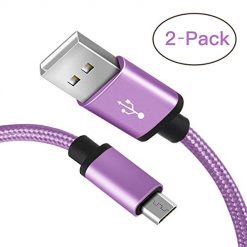 Micro USB Cable, Benicabe (6FT 2-Pack) Sync and Fast Charging Cord for Samsung Galaxy S7 Edge/ S7 S6 Note 5, Nexus, Android Charger and More (Lilac Purple)