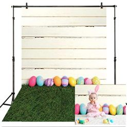 Allenjoy 5X7ft Happy Easter Theme Backdrops for Photography Green Grass Lawn Backdrop Colorful Eggs Background for Newborn Baby Shower Boys Girls Kids Adult Photo Portrait for Studio Props