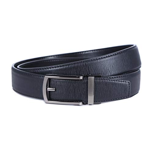 Men's Adjustable Leather Belt with Automatic Ratchet, Slide Buckle and Trim to Fit
