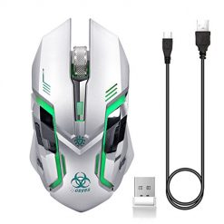 Best Mouse Gaming, VEGCOO C9s (Updated Version) Wireless Gaming Mouse, Rechargeable Silent Click Mice with Nano Receiver, Changing Breathing Backlit, 3 Adjustable DPI Up to 2400 for Laptop, PC, MacBook (C9s Sliver)