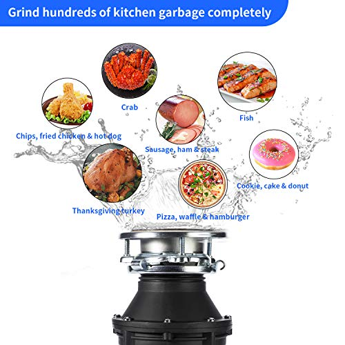 1/2 HP Garbage Disposal Quiet Disposer Kitchen Plus Household Food Stainless Steel Plate Waste Disposer Plug Attached