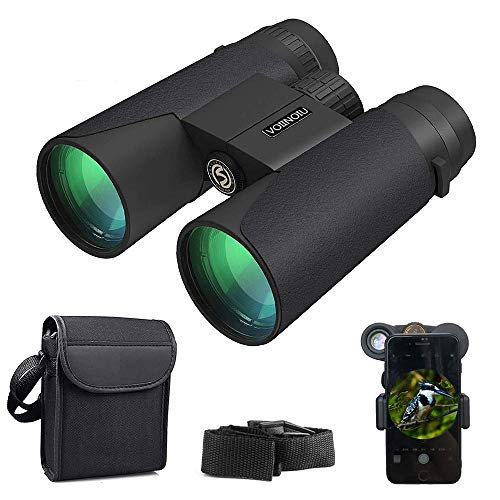 Compact Binoculars,12x42 HD Resolution for Adults with Low Light Night Vision,Explore Nature, Folding Spotting Telescope Bird Watching, Camping Hunting,Outdoor Sports,FMC Lens with Smart Phone Adapter