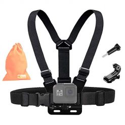 Kitway Chest Mount Harness, Adjustable Chest Strap Elastic Action Camera Body Belt with J Hoot Compatible with Akaso EK7000/DJI Osmo Pocket/Gopro Hero 7/6/5 Black, Session, Hero 4, Session, 3+/3/2/1