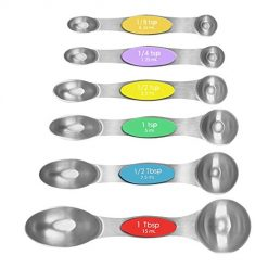 Magnetic Measuring Spoons, Alotpower Heavy Duty Stainless Steel Metal Measuring Spoons for Dry or Liquid, Fits in Spice Jar, Set of 6