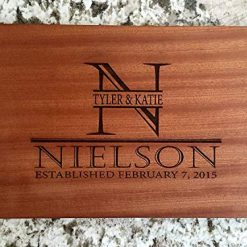 Personalized Gifts Couples Cutting Board - Wood Cutting Boards Bridal Shower, Housewarming, and Wedding Gifts (6x9, Sapele)