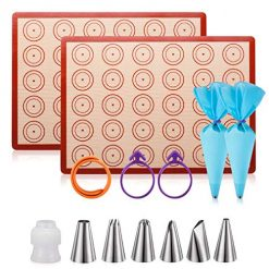 Silicone Baking Mat Macaron Mat Kit(14pcs set) Macaroon Baking Mat Set of 2 Half Sheet Macaron Silicone Mat Nonstick Macaron Mat Sheet,6 Piping Tip,2 Piping Bag with 2 Bag Tie,1 coupler (11.6