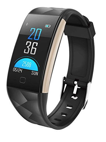 Best Smartphone Watch, New Bluetooth Smart Watch Color Screen IP67 Waterproof Activity Heart Rate Monitor for Android IOS Smartphones (Black)