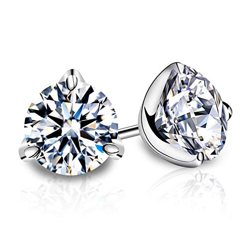 Enameljewelries 18K Genuine Gold Post and Swarovski Cut CZ Stud Earrings with 3 Firm Sterling Silver Prong for Women. (1)