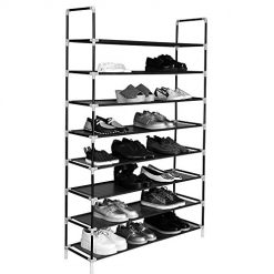 Cosway Simple Assembly 10 Tiers 50 Pairs Non-Woven Fabric Shoe Rack 10-Layer Shoe Tower Storage Organizer Cabinet with Handle (8Tier-Black)