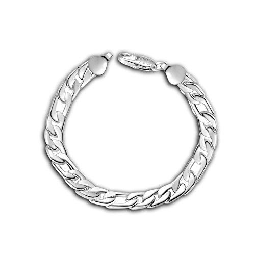 OD'lover Women Men Vintage Style Silver Plated Chain Link Bracelets Party Jewelry 20cm Strand