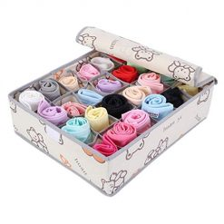 Ladiy 24 Grids Household Underwear Bras Socks Storage Box Drawer Closet Organizer Space Saver Bags