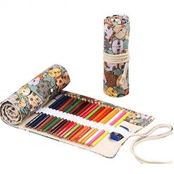 Canvas Pencil Wrap Roll up Case,36 Solts Large Capacity Pencil Wrap Organizer Holder Built-in Pouch Arts Crafts Storage for Kids Artists Drawing Pencils(Cute Cat,1 Piece/Pack-NO Pencil Included)