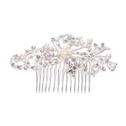 OD'lover New Bridal Wedding Flower Crystal Rhinestones Diamante Pearls Hair Clip Comb Clips