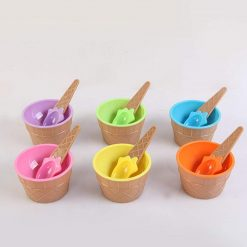 Ladiy Cartoon Candy Color Ice Cream Bowl with Spoon Kids Ice Cream Tool