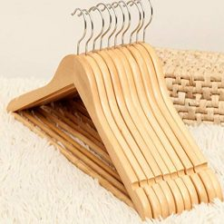 Neneleo 5Pcs Home Wardrobe Extra Wide Shoulder Wooden Suit Hangers Clothes Pins