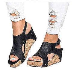 Queind Women Fashion Solid Buckle Wedge Peep Toe High Ankle Sandals Flats Black