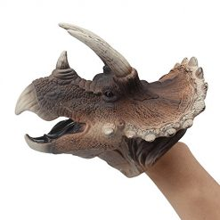 ZONXIE Soft Rubber Realistic Dinosaur Hand Puppets Role Play Toy for Kids and Toddlers (Triceratops)