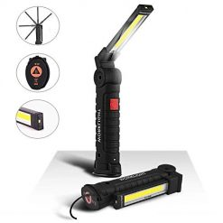 LED Work Light, USB Rechargeable COB Light, 5 Modes with SOS Light Magnetic Base Flashlight 360°Rotate IP65 Waterproof Torch Ultra Bright for Car Repairing Workshop Garage Camping Emergency (Large)
