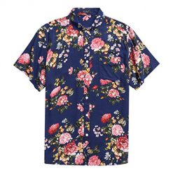 Men's Hawaiian Short Sleeve Shirt- MCEDAR Aloha Flower Print Casual Button Down Standard Fit Beach Shirts (Medium, BLUE 48551)