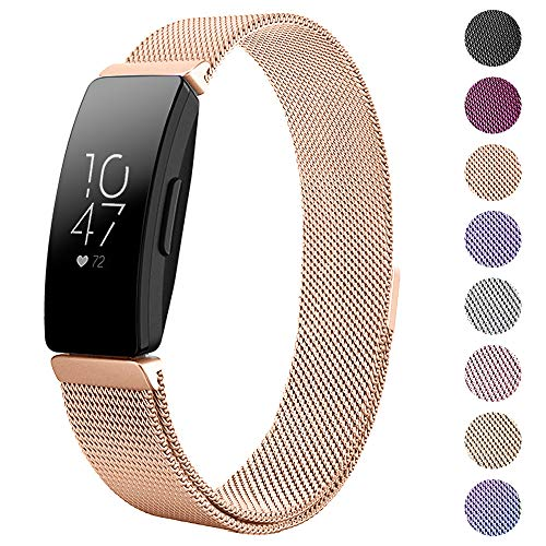 CAVN Compatible Fitbit Inspire / Inspire HR Bands for Women Men Small  Large, Metal Milanese Mesh Stainless Steel Replacement Magnetic Strap