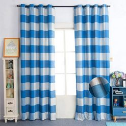 Nauxcen 100% Cotton Plaid Curtains, 52 X 84 Inch 2 Panels Blue White Grommet Curtains for Bedroom Living Room