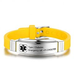 Personalized Medical Alert Bracelets for Men Women Sport Emergency ID Bracelets Adjustable Stainless Steel Diabetic ID Bracelets Band for Boys (Yellow)