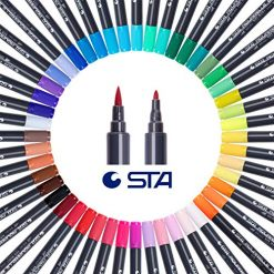 STA Watercolor Brush Pens Art Markers -Unique Watercolors-Fine Liner Brush Dual Tip - Non-Toxic Water Based Ink- for Adults&Kids Coloring Book,Sketching,Drawing,Bullet Journal (12 Color)