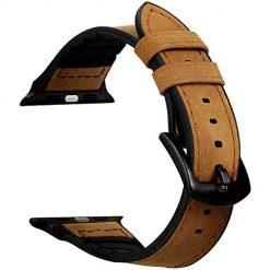 Rayfarmo Hybrid Leather Sports Band Compatible with Apple Watch 42mm 44mm,Sweatproof Genuine Leather and Rubber Band Strap for iWatch Series 4 44mm Series 3 Series 2 Series 1 42mm Sport Edition, Brown