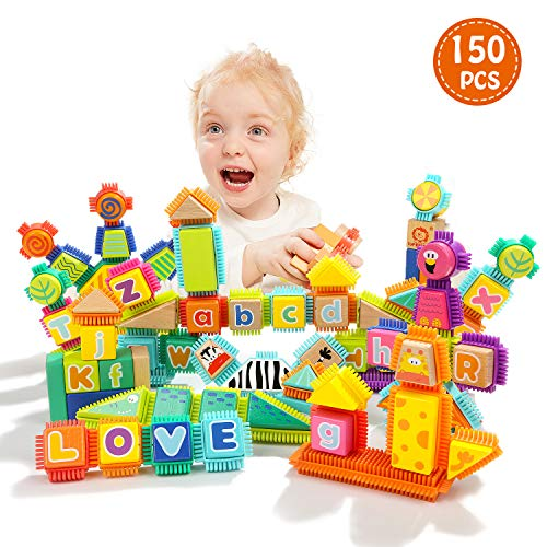 TOP BRIGHT Block Toy for Toddlers - Wooden Building Letter Blocks 3 Year Old Boy Shape Sorter Toy -150Pcs