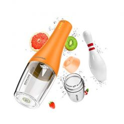 Portable Juice Blender, PINSOON Smoothie Blender with 4 Blades and Powerful Motor, Rechargeable Blender Bottle 350ml, 2x2000mAh, 3.7 Voltage - Orange