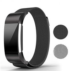 runme Metal Bands Compatible Fitbit Charge 2 Accessory-Stainless Steel Magnet Lock Replacement Bands Sport Strap Smartwatch Fitness Wristbands (Black, 6.5''– 9''Fitbit Charge2 Band)