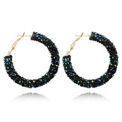 Caiuet Women Shiny Rhinestone Geometric Big Round Pierced Hasp Earrings Hoop